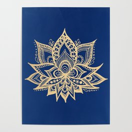 Gold and Blue Lotus Flower Mandala Poster