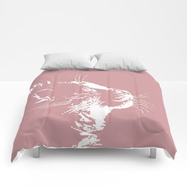 cat dreams (pink) Comforters