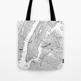New York City White Map Tote Bag