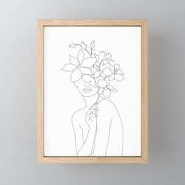 Minimal Line Art Woman with Orchids Framed Mini Art Print