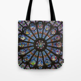 STAINED GLASS Notre Dame Cathedral Paris France Tote Bag
