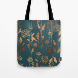 Art Deco Copper Flowers Tote Bag