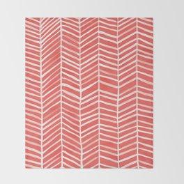 Coral Herringbone Throw Blanket