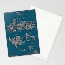 1902 Motorcycle Blueprint Patent in blue vintage poster Stationery Cards