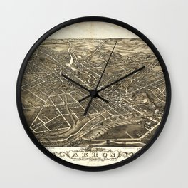 Aerial View of Akron, Ohio (1882) Wall Clock