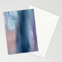 In a Blur: an abstract mixed media piece in pinks, blues, and purple Stationery Cards