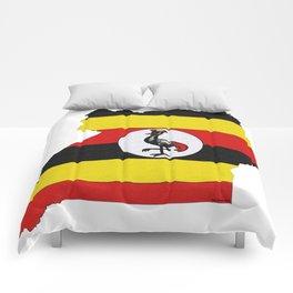 Uganda Map with Ugandan Flag Comforters