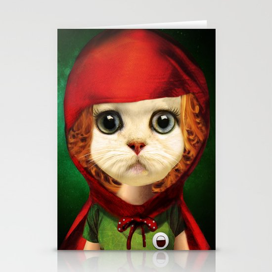 Kitten red riding  Stationery Cards