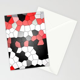 Red White Black Mosaik Graphic Stationery Cards