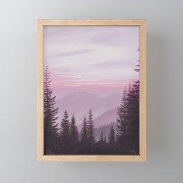 Magenta Mountain Sunrise Framed Mini Art Print