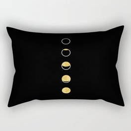 Moon Phase Wall Tapestry, Lunar Cycle, Black and Gold, Black and White, Gold Circles, Geometric Rectangular Pillow