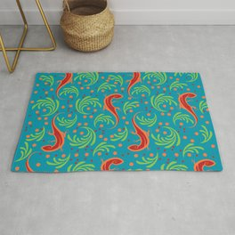Red Lizards and Leaves Pattern Rug