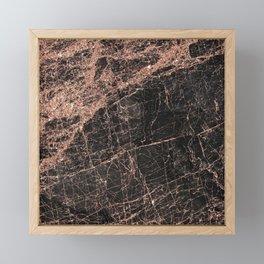 Elegant black rose gold glitter stylish marble Framed Mini Art Print