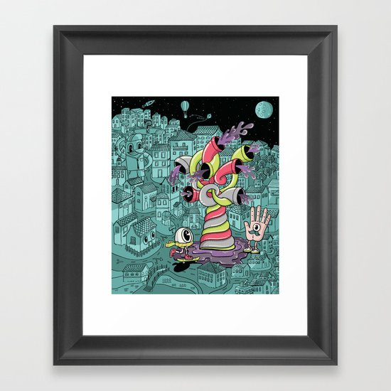 The city wakes up at night Framed Art Print