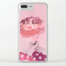 Woman in flowers Clear iPhone Case