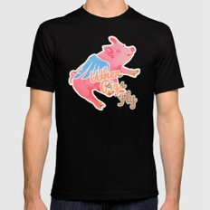 When Pigs Fly MEDIUM Black Mens Fitted Tee