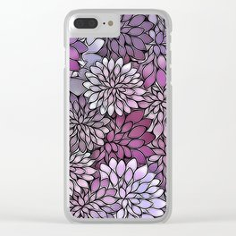 Stain Glass Floral Abstract - Purple-Lavender Clear iPhone Case