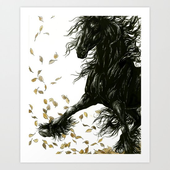 Autumn Friesian Art Print