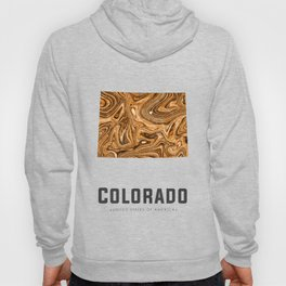 Colorado - State Map Art - Abstract Map - Brown Hoody