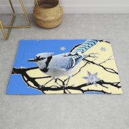 BLUE JAY DESIGN IN YELLOW-BLUE SNOWFLAKES ART Rug