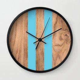 Striped Wood Grain Design - Light Blue #807 Wall Clock