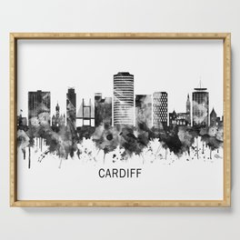 Cardiff Wales Skyline BW Serving Tray