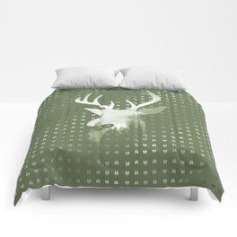 Green Deer Abstract Footprints Landscape Design Comforters