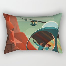 SpaceX Mars tourism poster / Olympus Mons Rectangular Pillow