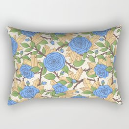 Blue Roses and Crystals Pattern Rectangular Pillow
