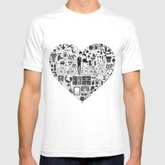 LIKES PATTERNS MEDIUM White Mens Fitted Tee
