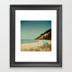 Blue Beach Umbrella Framed Art Print