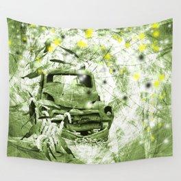 Dream wreck in grunge green kaleidoscope Wall Tapestry