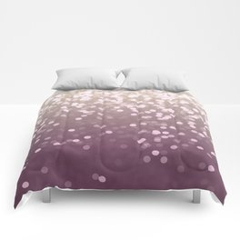 PLUM PURPLE AND GOLD CHAMPAGNE GLITTER LIGHTS Comforters