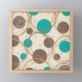 Brown and turquoise Framed Mini Art Print