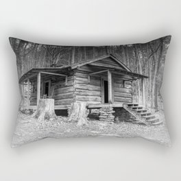 Cabin in the Woods in BW Rectangular Pillow