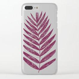 Simple Botanical Design in Dark Plum Clear iPhone Case