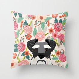 Schnauzer florals dog portrait dog art pet portraits by pet friendly Throw Pillow