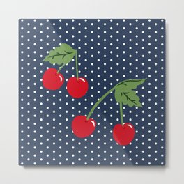 Cherry Kitsch on Navy Metal Print