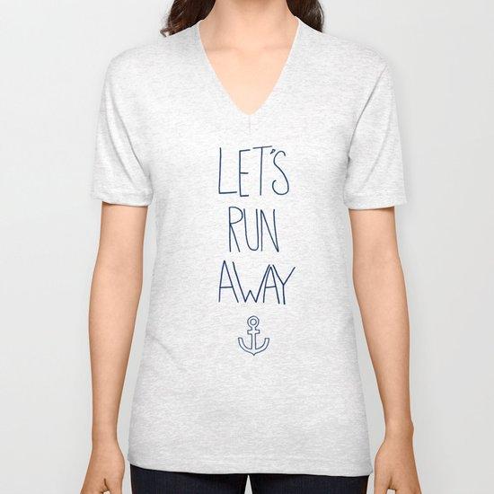 Let's Run Away: Sandy Beach, Hawaii Unisex V-Neck
