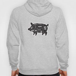 alternative pig meat cut chart vegan and vegetarian Hoody