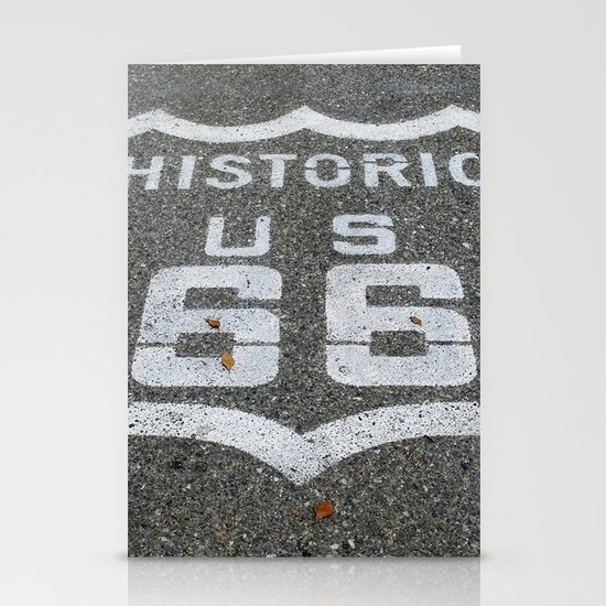 Route 66 sign on the road Stationery Cards