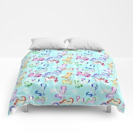 Unicorn repeating pattern colorful on blue Comforters
