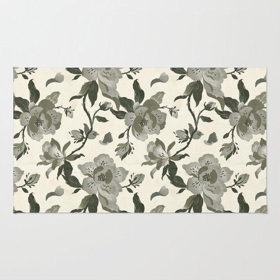 Black Magnolia Pattern Rug