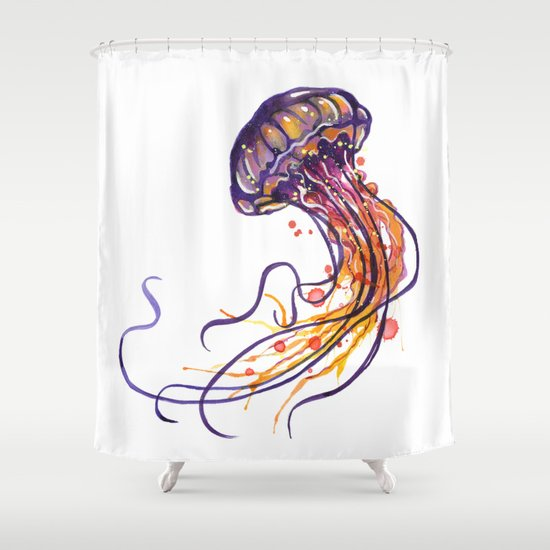 Purple Jellyfish Shower Curtain