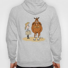 Funny Fat Horse Skinny Owner Will Work For Hay Hoody