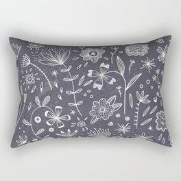 Chalkboard Flowers Rectangular Pillow
