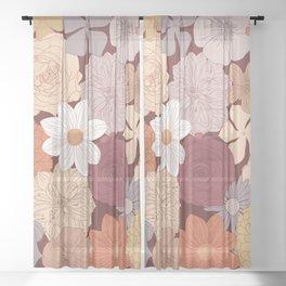 Retro Floral Wallpaper Design Sheer Curtain