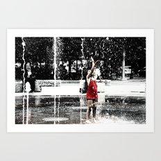Girl in Fountain, Boston Art Print