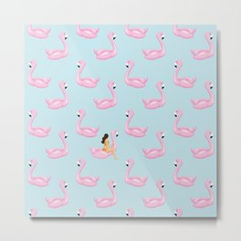 flamingo floats and girl Metal Print