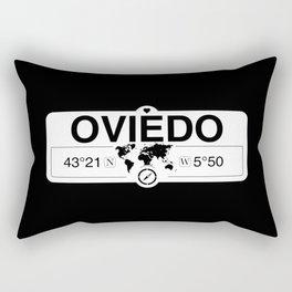 Oviedo Principado de Asturias with World Map GPS Coordinates Rectangular Pillow